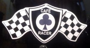 3D GEL sticker  SET of 1 'CAFE RACER FLAG '  Size approx 12.4cm x 5.6cm (5 Inch x 2.2 Inch)